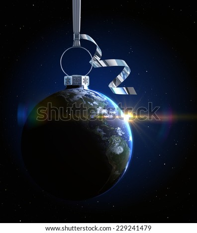 Christmas ball with world map texture