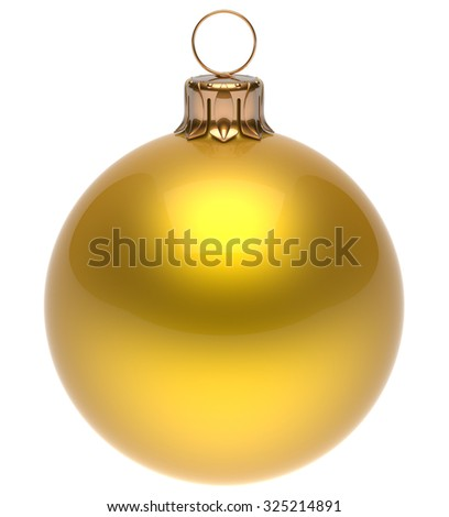 Christmas ball yellow New Year's Eve bauble wintertime decoration glossy sphere hanging adornment classic. Traditional winter ornament happy holidays Merry Xmas symbol blank round. 3d render isolated - stock photo