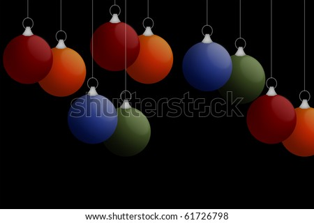 christmas balls against black background