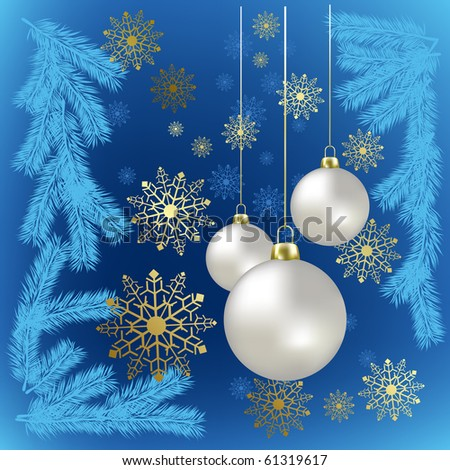 Christmas balls and gold snowflakes on a blue background
