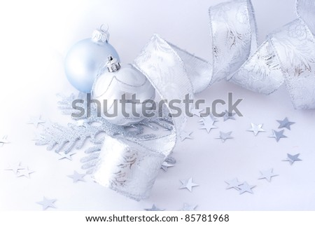 Christmas balls and on white background