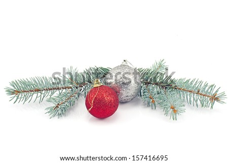 Christmas balls and pine needles isolated on white - stock photo