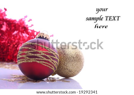 Christmas balls and place for sample text - stock photo
