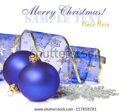 Christmas balls and ribbon isolated on white - stock photo