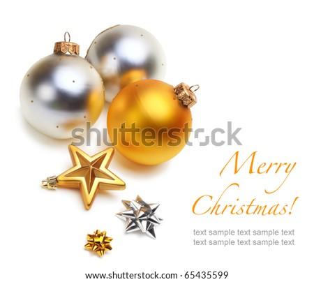Christmas balls and stars isolated - stock photo
