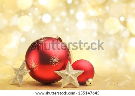Christmas balls and stars on abstract background - stock photo