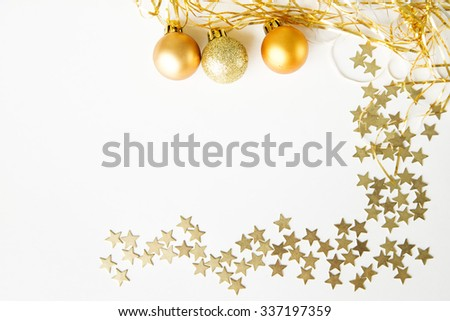 Christmas balls and stars on white background. Happy New Year - stock photo