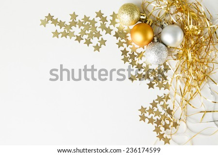 Christmas balls and stars to decorate on a white background. New year. - stock photo