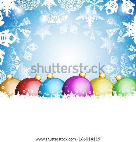 Christmas balls and white snowflakes on a blue background