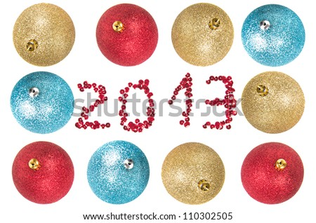 Christmas balls around number 2013 as New Year 2013 concept - stock photo