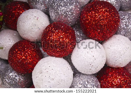 Christmas Balls Background - Red and White Christmas Decorations for Wallpaper or Background - stock photo