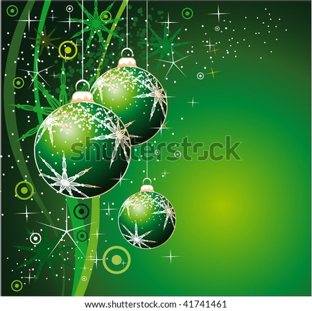 Christmas Balls Background with Snowflakes and stars