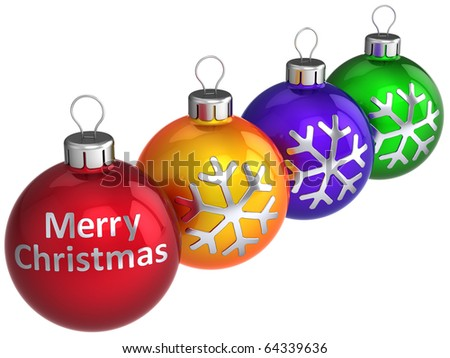 Christmas balls baubles Merry Xmas text on them. Happy New Year traditional wintertime celebrate decoration. Detailed 3d render. Isolated on white background - stock photo
