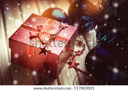 Christmas balls, bijouterie and gift box