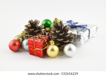 Christmas balls fir cones and wrapped presents on white background 4
