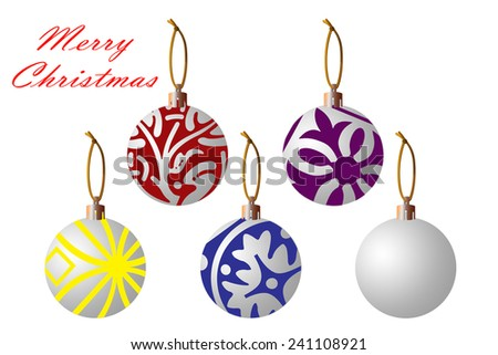Christmas balls for use in your own creation. Isolated on a white background for easy extraction.