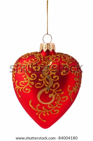 Christmas balls-heart isolated on white background