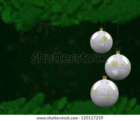 Christmas balls hung on the pine with green background.