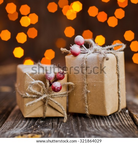 Christmas balls in a bucket on a background of lights - stock photo