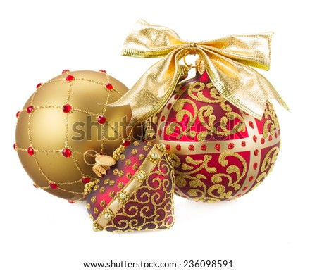Christmas balls in golden and red  colors  isolated on white background - stock photo