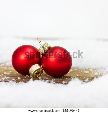 christmas balls in red - stock photo