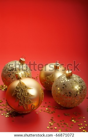 Christmas balls in red