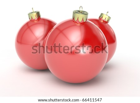 Christmas balls in red isolated against a white background.