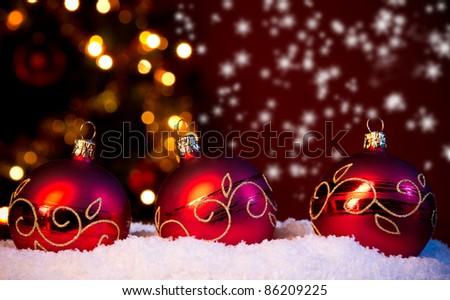 Christmas balls in snow - stock photo