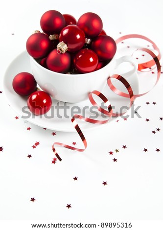 Christmas balls in the cup - stock photo