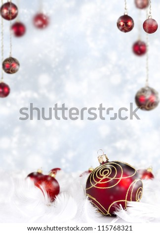 Christmas balls in white feathers - stock photo
