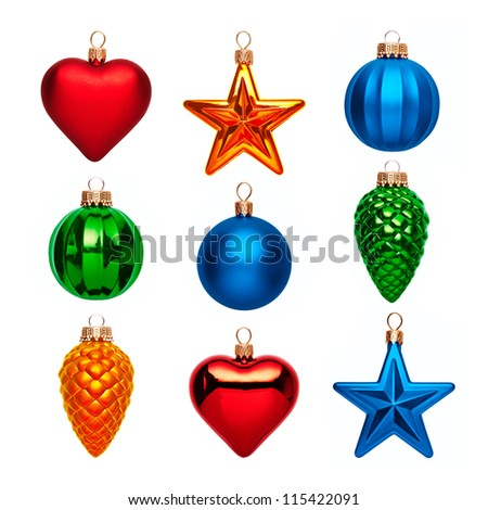 christmas balls isolated - stock photo