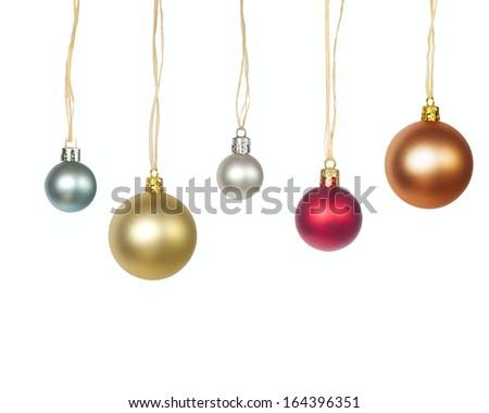 Christmas balls isolated - stock photo