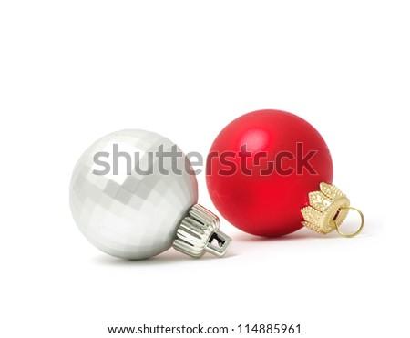 Christmas balls isolated on the white background - stock photo