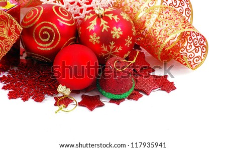 Christmas balls isolated on the white background - stock photo