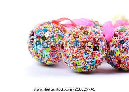 Christmas balls isolated on white - stock photo