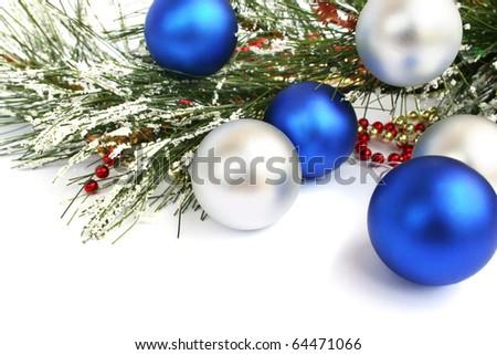Christmas  balls  isolated  on white background. - stock photo