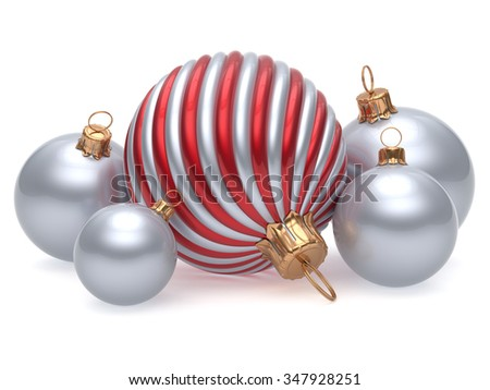 Christmas balls New Year's Eve adornment decoration red silver chrome white shiny wintertime hanging baubles group. Traditional ornament happy winter holidays Merry Xmas decor. 3d render isolated - stock photo