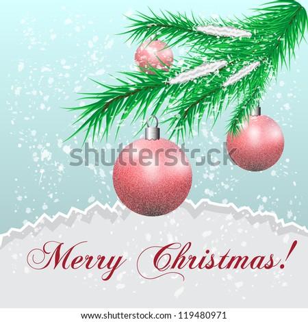 Christmas balls on a fur-tree branch against a snowfall - stock photo