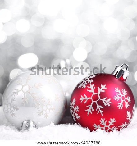 Christmas balls on abstract background,Closeup. - stock photo