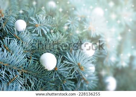 Christmas balls on Christmas tree - stock photo