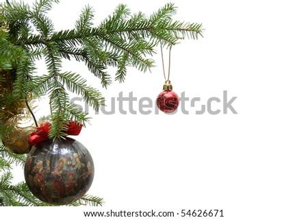 Christmas balls on christmas tree, isolated on white background - stock photo