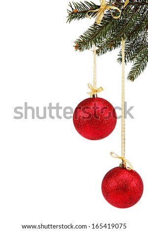 Christmas balls on fir branch isolated on the white background. - stock photo