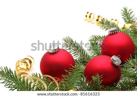Christmas balls on fir branches,Closeup. - stock photo