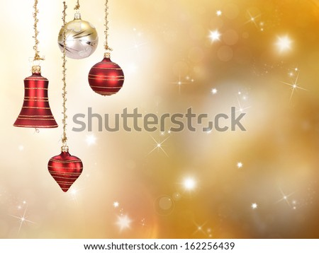 Christmas balls on gold background - stock photo