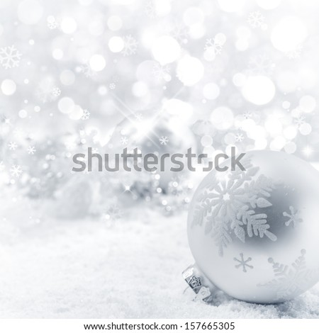 Christmas balls on snow,Closeup. - stock photo