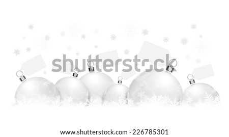 Christmas balls on snowflakes with cards on white background - stock photo