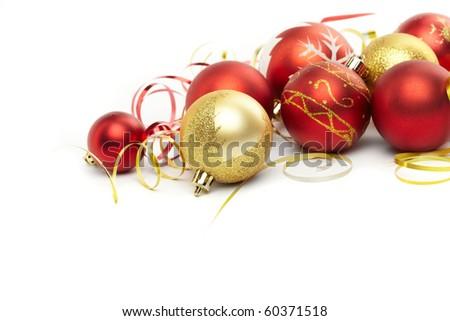 Christmas balls on the white background - stock photo