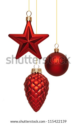 Christmas balls on white background - stock photo