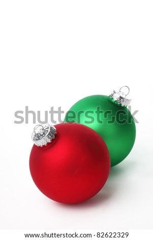 Christmas balls on white background. - stock photo