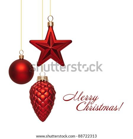 Christmas balls on white background - stock photo